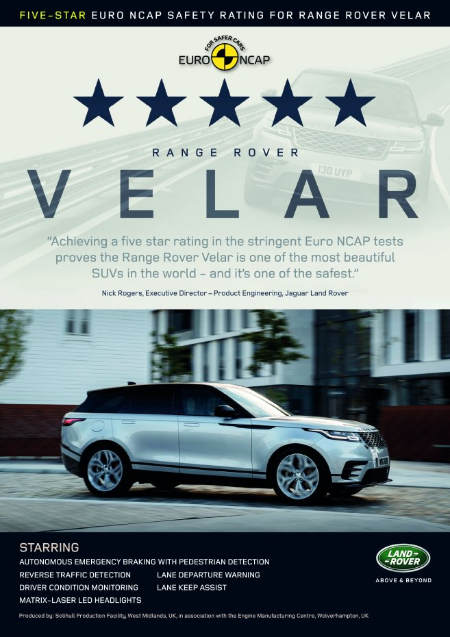 FIVE-STAR EURO NCAP SAFETY RATING FOR RANGE ROVER VELAR