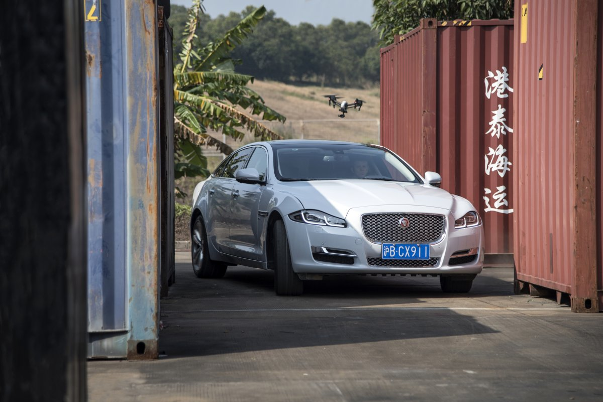 Jaguar XJ Takes on Top Drone in Unique 'Cat and Mouse' Challenge